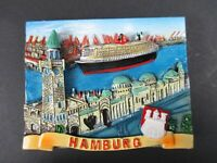 Magnet Hamburg Hafen Landungsbrücken  Poly Relief 7 cm Germany Souvenir,NEU