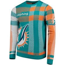 Forever Collectibles NFL Men's Miami Dolphins Plaid Crew Neck Sweater