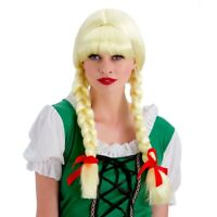 Blonde Bavarian Beer Girl Schoolgirl Wig Pigtails With Red Ribbons Fancy Dress