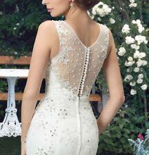 New Sz Petite XS - WHITE Trumpet/Mermaid LACE Train Button/zipper Wedding Dress