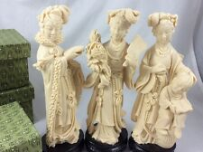 Set Of 3 Vintage Ivory Color Resin Geisha Figures People's Rep Of China