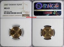 China, Republic Of TAIWAN Chiang Kai-shek 2007 1 Yuan NGC MS63 Y# 551