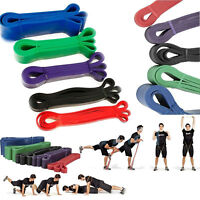 Yoga Pilates Exercise Elastic Fitness Rubber Stretch Band belt Resistance eGuide