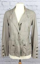 XCVI Linen Silk Jacket Embroidered Cut Out 1 Button Khaki Size S