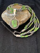 Navajo Pearls Gaspeite Turquoise Sterling Silver Pendant Necklace Set 3S 2987