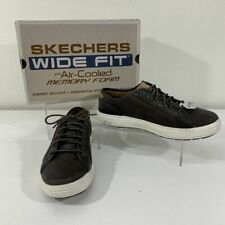 Skechers Shoes Men's 8.5 EE Porter Ressen Dark Brown Oxford Sneaker Wide Fit