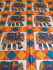 INDIAN 100% COTTON DOUBLE SIZE BLUE and YELLOW ROWS OF ELEPHANTS PRINT BEDSPREAD