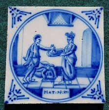 Antique 18thC.Dutch Delft Blue White Bible Biblical Religious Tile Decapitation