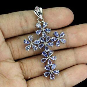 Unheated Pear Tanzanite 5x3mm Rhodolite Garnet 925 Sterling Silver Cross Pendant