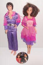 "Vintage Mattel 1976 Donnie & Marie Osmond Action Figure 12"" Dolls + Button"