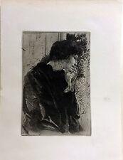 """Tristesse"" (Sadness) etching by Albert Besnard"