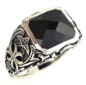 BLACK ONYX GOTHIC CROSS STERLING 925 SILVER RING 12.5