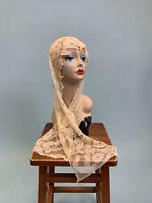 Antique Edwardian rare cream lace ladies bonnet hat nightcap authentic original