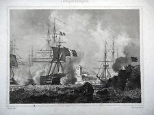GRAVURE ANCIENNE 19e - BOMBARDEMENT DE TANGER - 6 AOUT 1844 - MAROC