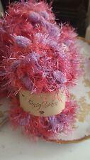 Fancy Yarn Brand Lot of Six/6 Skeins Pom Pom, Eyelash, Pinks/Purples Yarn, NEW