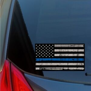 Thin Blue Line distressed American Flag sticker decal police law enforcement LE