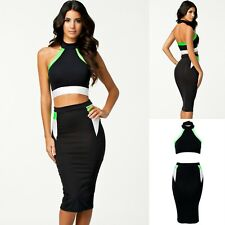 Sz L 12 14 Black Halter Formal Cocktail Party Club Slim Pencil Midi Dress
