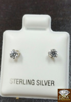 Real 925 Sterling Silver Earrings 4mm CZ Stud,Prong Setting FREE SHIP,Push Back