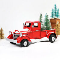 Old Red Metal Truck Car Model & 2 Mini Christmas Tree Kids Gift Table Top Decor
