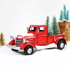 Vintage Red Metal Truck Car Model with 2 Mini Xmas Tree Kids Gift Table Decor