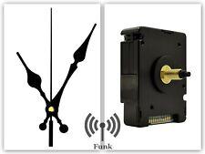 Funkuhrwerk DCF Funkuhr Funk lautlos geräuschlos Uhrzeiger Schwarz 95 mm #103