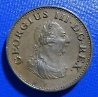 Ireland Hibernia Farthing Coin~1806 George III~KM#146~Copper~Extra Fine~#410