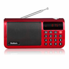 FM/MW/SW Radio Speaker MP3 Player with Flashlight Sleep timer Clock 18650 Batter