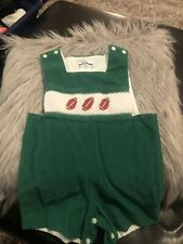 Silly Goose Smocked Football Green Boy 24 Months