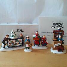 """Dept 56 Heritage Village Christmas Bazaar """"Woolens & Preserves"""" And """"Sign"""" Sets"""