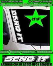 SEND IT Vertical Windshield VINYL DECAL Sticker Larry Silly Turbo Diesel Truck