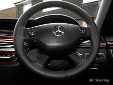 FOR MERCEDES E CLASS W211 02-09 BLACK LEATHER STEERING WHEEL COVER BEIGE STITCH