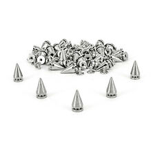 50 x 10x20mm Silver Cone Screwback Spikes Studs Punk For Bag Clothes Jacket Shoe