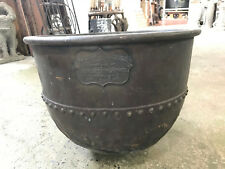 Antique Riveted Copper Clad Cauldron 21.5 inches, Wrought Iron Range Co Kettle