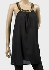 NWT F&F Black Cotton Embellished S/less Beach Tunic Top Size S / 8-10