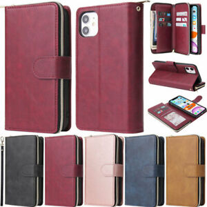 Retro Zipper Wallet Leather Flip Cover Case For iPhone 12 Pro 11 X XR 6 7 8 Plus