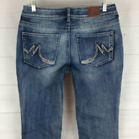 Maurices embellished womens size 6 stretch blue faded med wash bootcut jeans