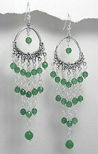Solid Sterling Silver 92mm BIG & BOLD Green Aventurine Hook Dangle Earrings 12g