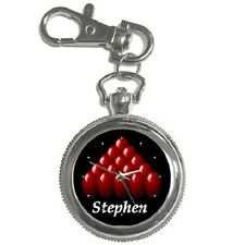 SNOOKER GIFT BILLIARDS POOL PERSONALISED KEYCHAIN WATCH **SUPERB ITEM**
