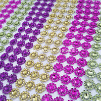 1M Crystal Diamante Sparkly Rhinestone EFFECT Mesh Ribbon BLING Trim SUNFLOWER