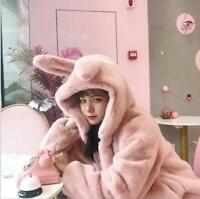 Womens Autumn Winter Fashion Cute Hooded Rabbit Ears Fluffy Jacket Faux Fur Coat
