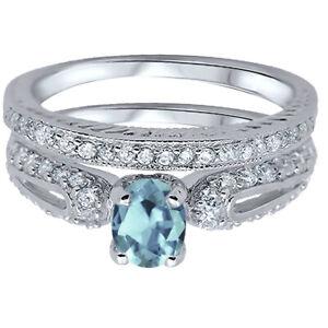 Oval Aquamarine CZ Lucky Horseshoe Design Engagement Wedding Silver Ring Set