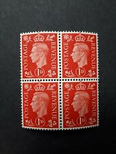 GB KING GEORGE POSTAGE REVENUE STAMPS 1D, BLOCK OF FOUR, MINT NEVER HINGED