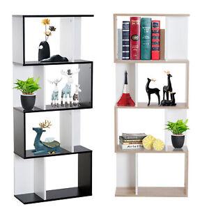 4-tier Storage Display Shelving Bookcase S Shape design Divider Unit Particle