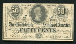 """CT-72 1864 50 CENTS CSA CONFEDERATE """"JAMES O'NEILL & CO."""" ADVERTISING NOTE"""