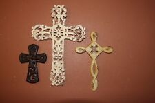 (3) Country Cottage Christian Wall Cross, Shabby Cottage Cross Decor, Distressed