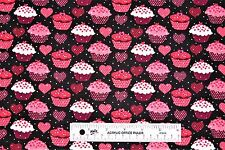 Valentine's Day Hearts Cupcakes Silver Glitter Cotton Fabric  BTY  (D1) <
