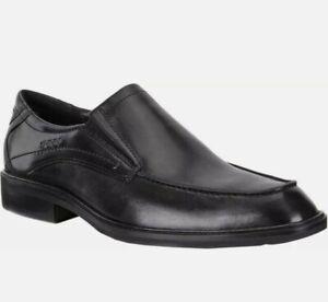 ECCO Windsor Slip On Black Leather Loafer $250 New EU 47 Men's Size 13 US