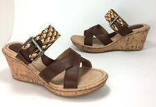 New B.O.C. Izabel size 8 Brown Faux Leather Woven Wedge Sandals Born Concept