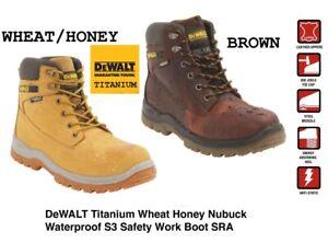 DeWALT Titanium S3 Waterproof Leather Safety Work Boot Steel Toe Cap Midsole SRA