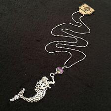 "Large Silver Mermaid Necklace Sea Ocean Charm Pendant Nautical 30"" Scale Rainbow"